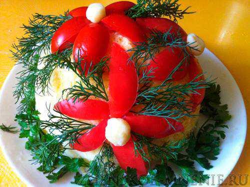 Салат с фасолью Цветочная полянка