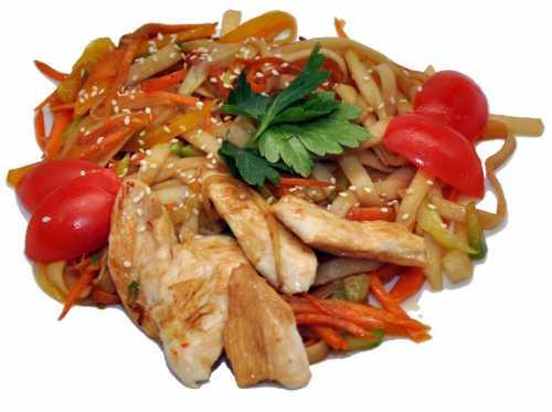Лапша удон с курицей, овощами, креветками или говядиной
